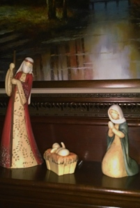 My favorite nativity scene on our mantle.